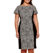 Maya Brooke Short-Sleeve Geometric Print Sheath Dress - Plus