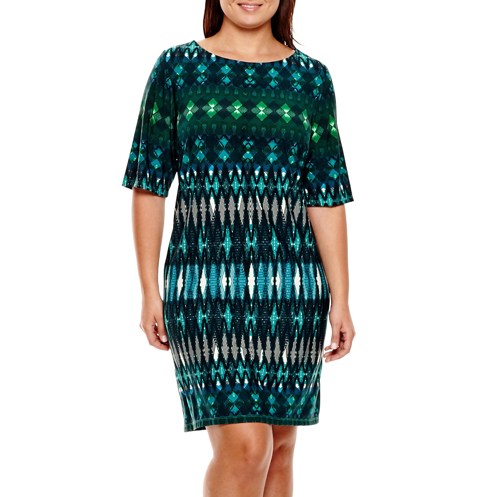 Studio 1 3/4-Sleeve Aztec Print Sheath Dress - Plus