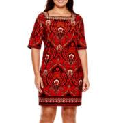 Studio 1® 3/4-Sleeve Square-Neck Sheath Dress - Plus