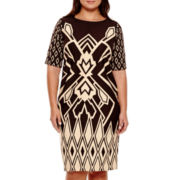 Maya Brooke Short-Sleeve Print Sheath Dress - Plus