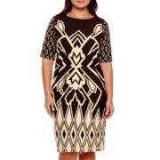 Maya Brooke Short-Sleeve Print Sheath Dress - Plus