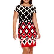 R&K Originals® Short-Sleeve Geometric Print Shift Dress - Plus