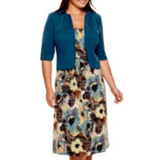 Maya Brooke 3/4-Sleeve Floral Print Jacket Dress - Plus