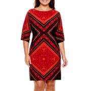 London Style Collection 3/4-Sleeve Print Sheath Dress - Plus
