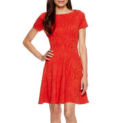 Danny & Nicole® Short-Sleeve Knit Fit-and-Flare Dress - Petite