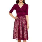 Signature by Sangria 3/4-Sleece Ruched-Waist Dress - Petite