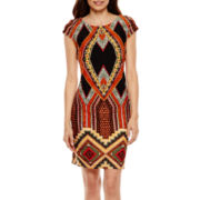 R&K Originals® Cap-Sleeve Aztec Print Shift Dress - Petite