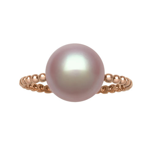 Cultured Freshwater Pink Pearl 14K Rose Gold Beaded Ring