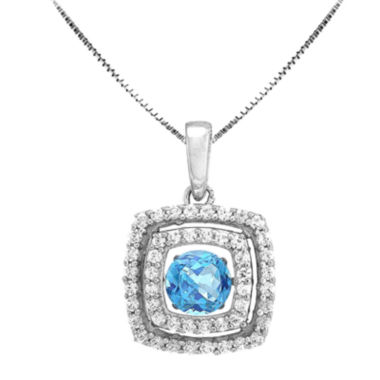 jcpenney.com | Love in Motion™ Genuine Blue Topaz and Lab-Created White Sapphire Cushion-Cut Pendant Necklace