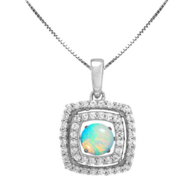 jcpenney.com | Love in Motion™ Lab-Created Opal and White Sapphire Cushion-Cut Pendant Necklace