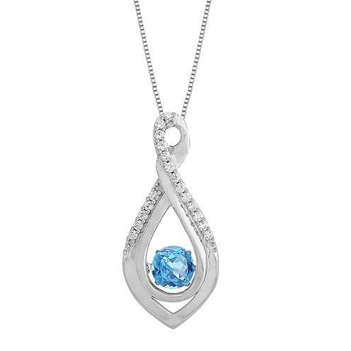 Love in Motion™ Genuine Blue Topaz and Lab-Created White Sapphire Infinity Pendant Necklace