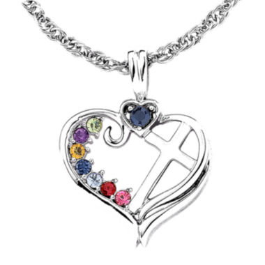 jcpenney.com | Personalized Mom Birthstone Cross within Heart Pendant Necklace