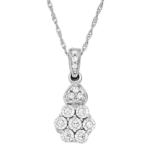 diamond blossom 1/10 CT. T.W. Diamond Pendant Necklace