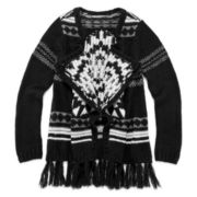Arizona Tribal-Print Open Cascade Sweater - Girls 7-16 and Plus