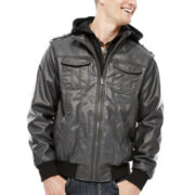 i jeans by Buffalo Faux-Leather Bomber Jacket