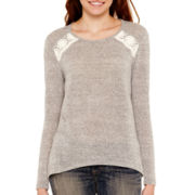 Rewind Long-Sleeve Envelope-Back Crochet Top