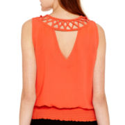 by&by Sleeveless Lattice-Back Smocked-Hem Chiffon Blouse