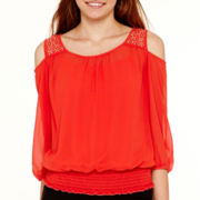 by&by 3/4-Sleeve Embellished Cold-Shoulder Blouse