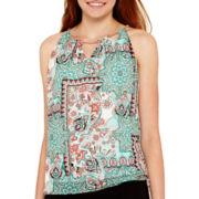 by&by Sleeveless Patchwork Neck-Trim Halter Top