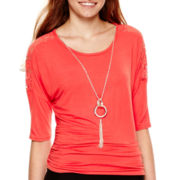 by&by 3/4-Sleeve Lace-Inset Side-Cinch Necklace Top
