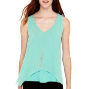 by&by Sleeveless Knit-and-Chiffon Necklace Top