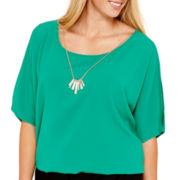 by&by Elbow-Sleeve Chiffon Cold-Shoulder Necklace Top - Plus