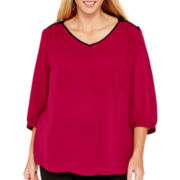 by&by 3/4-Sleeve Lattice-Back Contrast Top - Plus
