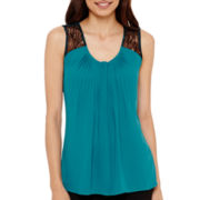 Worthington® Sleeveless Lace-Trim Shell Blouse - Petite