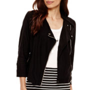 a.n.a® 3/4-Sleeve Cropped Moto Jacket