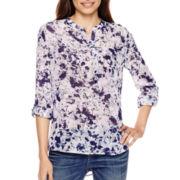 a.n.a® 3/4-Sleeve Roll-Tab Pleated Mandarin Collar Blouse - Petite