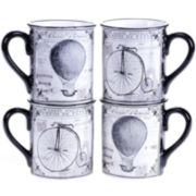 Certified International Paris Travel Set of 4 Mugs