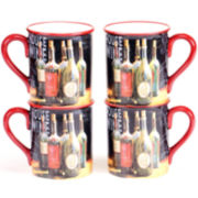Certified International House Wine Set of 4 Mugs