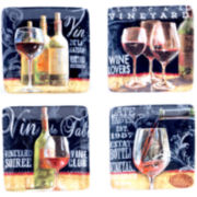 Certified International House Wine Set of 4 Canapé Plates