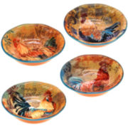 Certified International Rustic Rooster Set of 4 Pasta Bowls
