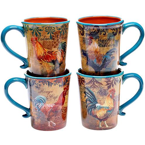 Certified International Rustic Rooster Set of 4 Mugs