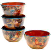 Certified International Rustic Rooster Set of 4 Ice Cream Bowls