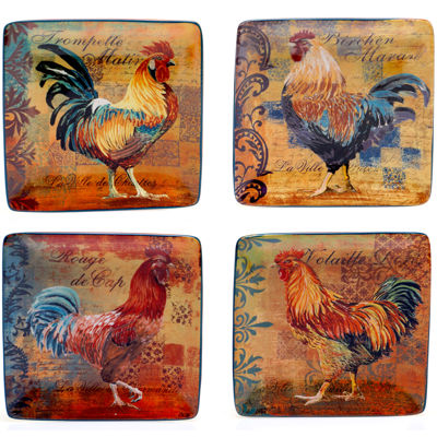 Certified International Rustic Rooster Set of 4 Canapé Plates