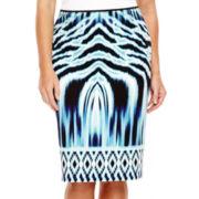 Bisou Bisou® Scuba Pencil Skirt with Center-Back Seam - Plus