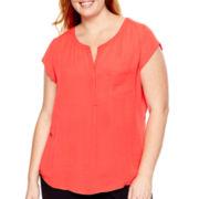 Liz Claiborne® Cap-Sleeve Blouse - Plus