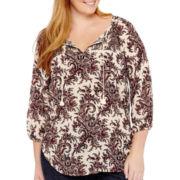 Liz Claiborne® 3/4-Sleeve Smocked Print Top - Plus