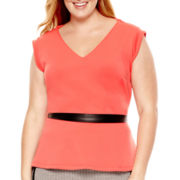 Worthington® V-Neck Peplum Blouse - Plus