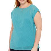 Liz Claiborne® Short-Sleeve Foil-Dot Blouse - Plus