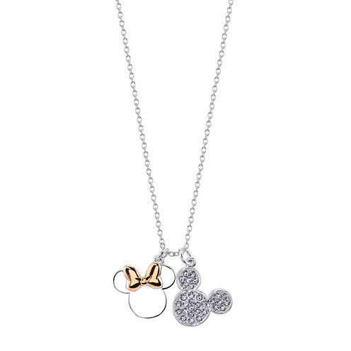 Disney Womens Clear Silver Over Brass Pendant Necklace