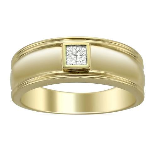 Mens 1/6 CT. T.W. Genuine White Diamond 14K Gold Wedding Band