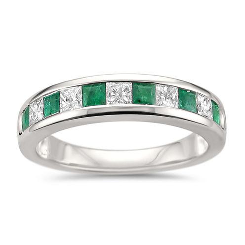 Womens 1 CT. T.W. Genuine White Diamond & Genuine Emerald 14K Gold Wedding Band