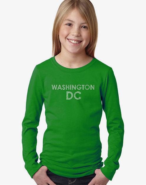 Los Angeles Pop Art Washington Dc Neighborhoods Long Sleeve Graphic T-Shirt Girls
