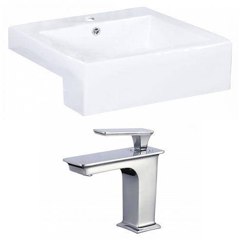 American Imaginations W Semi-Recessed Ceramic Rectangular Vessel Sink