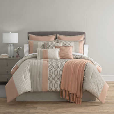 home comforter luxury cinnamon beige collections chai piece fashion comforters grande ruffled set tache