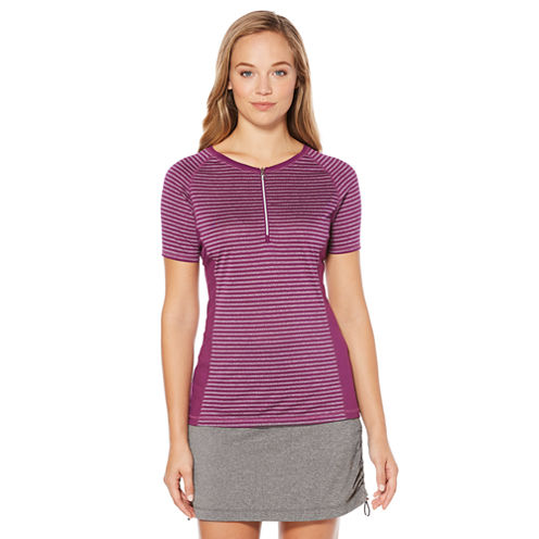 PGA TOUR Easy Care Short Sleeve Stripe Knit Polo Shirt