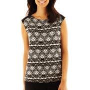 Liz Claiborne Short-Sleeve Lace Print Knit Top - Petite